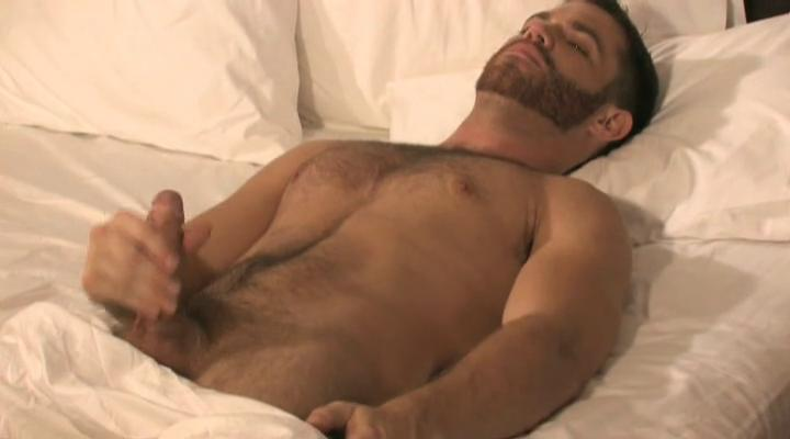 Turned greater than well-pleased bear masturbates surrounding the bed surrounding hotel room