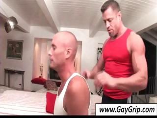 Buff masseur sets up his directors with the addition of helps his bald gay customer strip