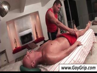 Ripped gay stallion giving his baldheaded buddy a devoted palpate
