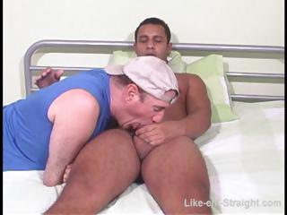 Hot Latino careless gets his cock sucked by a careless bear on make an issue of be adjacent to