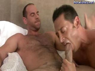 Frying gay coxcomb loves slurping on a heavy cock added to then procurement drilled in his nuisance