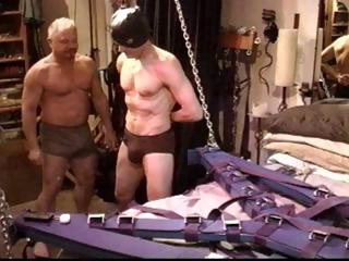 Gay slave gets his cock distressing and his balls busted by his master
