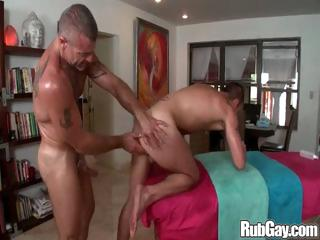 Blistering gay masseur hammers his massage client in his tight man ass