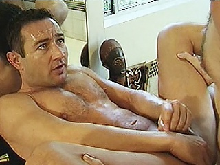 Duo hard bodied happy-go-lucky bears Michael Vista and Lee Casey were hired to...
