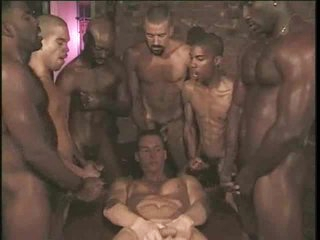 Gay interracial gangbang with white brat pretty cock