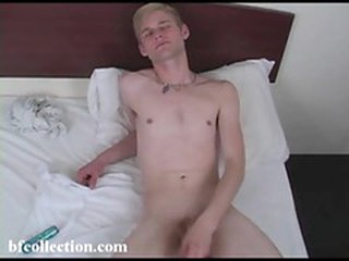 The crestfallen twink uses lube to make his load of shit slippery