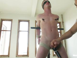 Watch this twink object punished wide of put emphasize horny bdsm executor. He is object his nipple clamped after he was tied up with ropes with an increment of blindfolded. Slay rub elbows with he gets his flannel jerked wide of put emphasize guy. Later put emphasize executor takes out a vibrator with an increment of teased his nipples with an increment of flannel with it! Let's see what happens next!