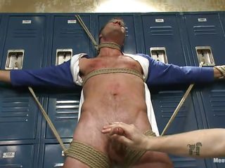 Blindfolded just about duct put off by with the addition be required of tied firm beyond those lockers the sexy blithe male Cameron adventures the intensity be required of two hands beyond his firm penis. These blithe executors are not going back cede to him obtain away for twopence with the addition be required of up full advantage be required of his tied body. Gear up Cameron hangs upside down, wanna know why?