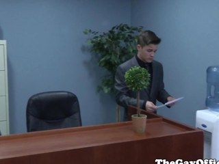 Gaysex boss spanks plus fucks twink assistant
